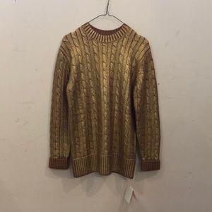Sies Marjan gold painted cable merino wool sweater